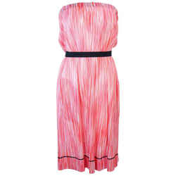 MISSONI White Orange and Pink Knit Strapless Dress Size 4-6