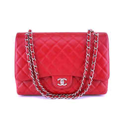 Chanel Red Caviar Maxi Classic Flap Bag SHW
