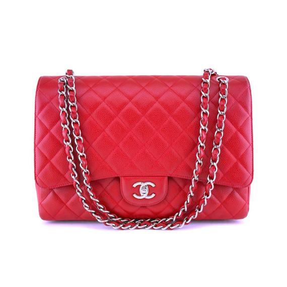Chanel Red Caviar Maxi Classic Flap Bag SHW