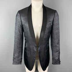 Lanvin Size 40 Black & Blue Silk Shawl Collar Sport Coat