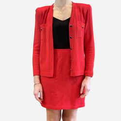 Red Knit Skirt Suit
