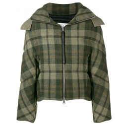 J.w.anderson Green Plaid Wool Puffer Coat