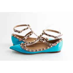Valentino Blue Patent Leather Rockstud Ankle Strap Ballet Flats