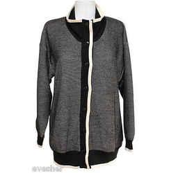 Salvatore Ferragamo Black Ivory Cardigan Jacket Wool Sweater Knit Top S Dopeek!