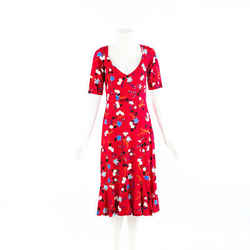 Erdem Dress Red Floral Print Scoop Neck Flounce SZ 12 UK
