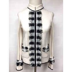 Vintage Chanel Ivory Cashmere Blend Black/gray/white Frayed Trim Zip-front Cardigan Sweater