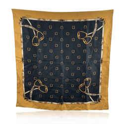 Gucci Vintage Yellow Black Stirrup Equestrian Themed Silk Scarf