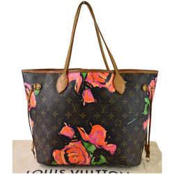 LOUIS VUITTON Neverfull MM Roses Monogram Canvas Shoulder Bag Brown