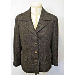 """Escada Two Tone Brown Tweed Jacket With 3 """"escada"""" Engraved Buttons - Size 42"""