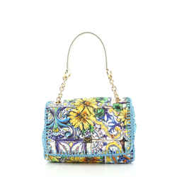 Miss Charles Top Handle Bag Quilted Printed Canvas and Raffia Small