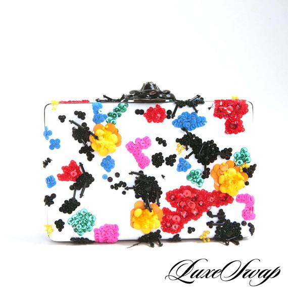 Oscar de la Renta White Embroidered Box Clutch Bag