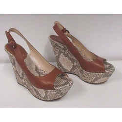 Casadei Snake Print Woven Raffia & Tan Leather Peep Toe Wedge Sandals - Size 38