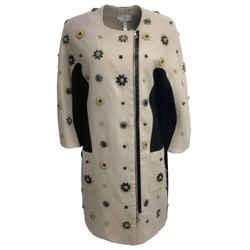 ERDEM Taupe Bejeweled Wool Coat