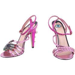 Gucci Pink Fuschia Metallic Crystal Embellished Sandal Heels