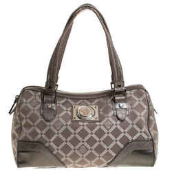 Versace Metallic Beige Signature Canvas and Leather Boston Bag
