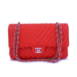 Chanel Red Caviar Medium Chevron Classic Double Flap Bag Shw