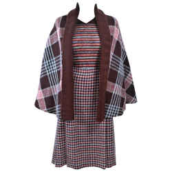 MISSONI Brown and Stripe Plaid Wool Ensemble with Cape Size 10