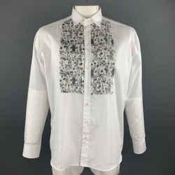 Etro Size L White Cotton Pleated Silk Paisley Bib Long Sleeve Shirt