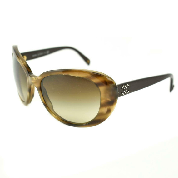 "CHANEL: Havana Brown, Crystals & ""CC"" Logo Sunglasses (mf)"