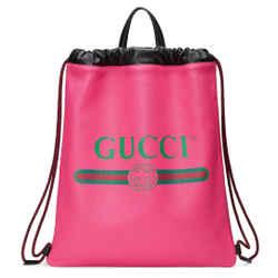 New Gucci Vintage Print Logo Drawstring Backpack