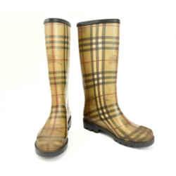 "Burberry: Beige ""nova Check"" & ""prorsum Knight"" Logo, Rain Boots Sz: 6.5m"