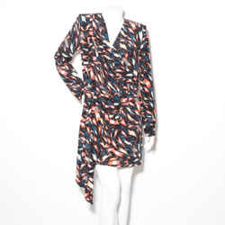 Givenchy Print Pleat Long Sleeve Dress