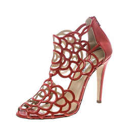Oscar de la Renta Orange Leather Gladia Cutout Sandals Size 41.5