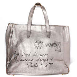 Yves Saint Laurent - Ysl Y-mail Tote - Metallic Silver Leather Handbag Mail