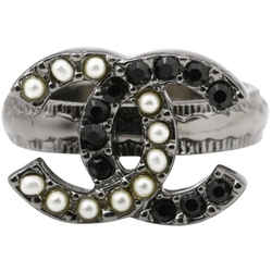 Chanel a12p Black CC Pearl Ring  861922