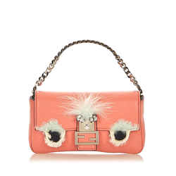 Pink Fendi Micro Monster Leather Baguette