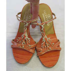 Valentino Garavani Coral Snake Embossed Leather Sandals W/ Enamel & Crystal - 36