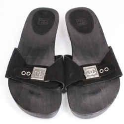 Chanel - Cc Wooden Sandals - Black Suede Slip On Buckle Logo Slide  Us 6.5 - 37
