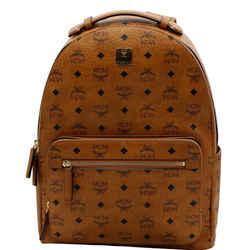 MCM  Stark Medium Visetos Monogram Canvas Backpack Bag Cognac Red