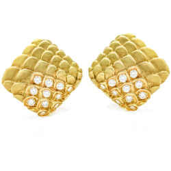 Judith Leiber Diamond Scale Square Fashion Clip-On Earrings in 18k Yellow Gold