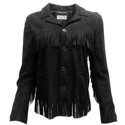 Saint Laurent Black Suede Curtis Fringe Jacket