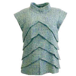 Chanel Blue Green Fantasy Tweed Blouse