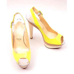Christian Louboutin Sandals Yellow/beige/silver Size 6.5 Authenticity Guaranteed