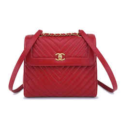 Chanel Red Aged Calfskin Large Chevron Framed Backpack Bag Ghw