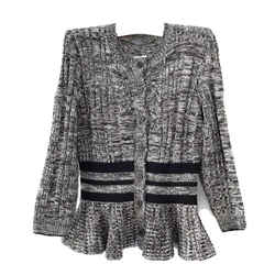 Alexander Mcqueen Peplum Marl Black/ivory Sweater