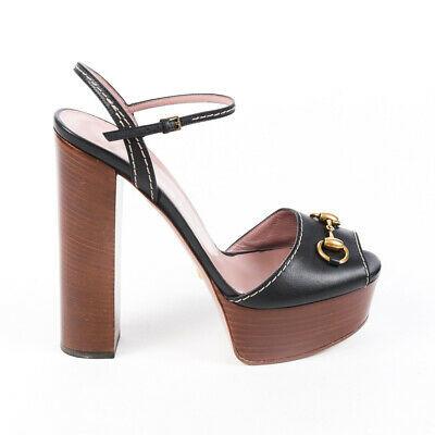 Gucci Sandals Black Leather Horsebit Platform Block Heel SZ 41