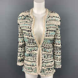 OSCAR DE LA RENTA Size S Cream & Teal Blue Woven Silk Crochet Cardigan Jacket