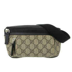 Auth Gucci Gucci Gg Supreme Waist Pouch Body Bag Black 450946 Leather