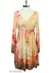 Roberto Cavalli Printed Tunic Dress Long Sleeve Rayon Blouse Top Shirt Sz S