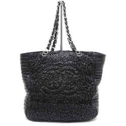 CHANEL Black Lambskin Leather Tote Bag Large Silver Chain Ruched LTD EDITION