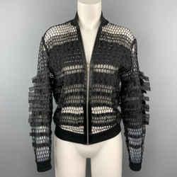 JEAN PAUL GAULTIER Size M Black Mesh Polyester Zip Up Jacket