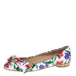 Salvatore Ferragamo Multicolor Floral Print Patent Leather Avola Bow Ballet