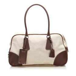 Beige Prada Canvas Bowler Bag