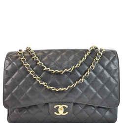 Maxi Double Flap Caviar Leather Shoulder Bag Black
