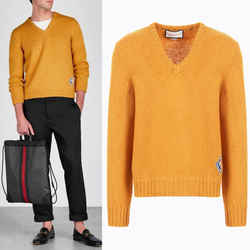 M NEW $980 GUCCI Men Mustard Yellow Wool Knit GAME GG LOGO PATCH V Neck SWEATER