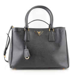 Prada Black Saffiano Leather Small Gardener's Lux Tote